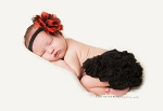 Red Black Shabby Lace Baby Headband Black Ruffle Bloomers