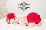 Red Flower Satin Headband and Matching Chiffon Ruffle Bloomers