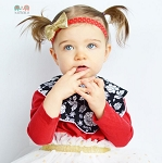 Red Gold Heart Hairbow Baby Headband