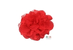 Red Shabby Chic Frayed Chiffon Flower