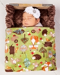 Woodland Blanket, Kids Minky Blanket, Receiving Blanket, Baby Swaddle Blanket, Minky baby blanket