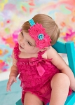 Hot Pink Flower Turquoise Lace Baby Headband