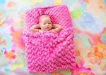 Double Hot Pink Rosette and Dot Minky Baby Blanket