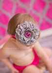 Grey Flower and Fuscha Rhinestone Baby Headband