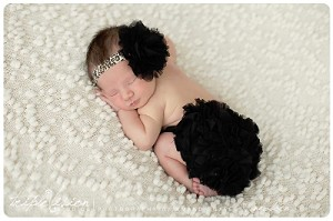 Black Flower Leopard Baby Headband and Matching Bloomers