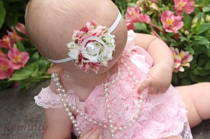 Vintage Rose Chiffon Rosette White Pearl Baby Headband