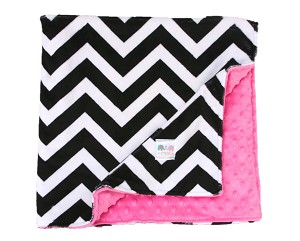 Black Chevron on Hot Pink Double Minky Lovey