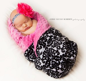Black Damask on Hot Pink Double Minky Baby Blanket