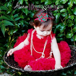 Red Green Stripe Chiffon Rosette Baby Headband
