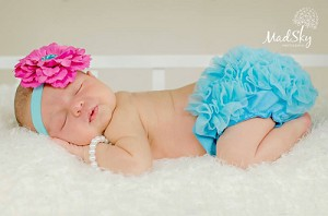 Fuschia Flower Satin Baby Headband and Turquoise Ruffle Bloomer Set