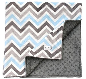 Gray Blue Multi Chevron Double Minky Baby BlanketBaby Gift, Nursery, Crib Blanket, Stroller Blanket, Crib Bedding, Throw Blanket