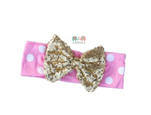 Gold Bow Pink White Polka Dot Baby Headband