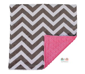 Grey Chevron on Hot Pink Double Minky Baby Lovey