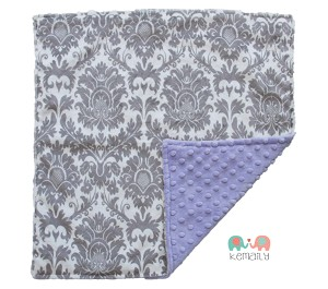 Grey Damask on Lavender Double Minky Lovey