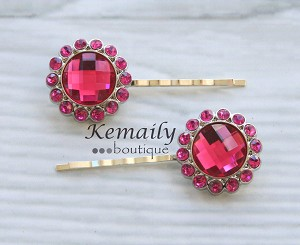 Large Bright Pink Rhinestone Flower Hair Clip