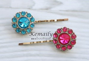 Hot Pink and Turquoise Rhinestone Hair Clip