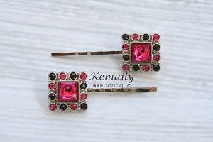 Hot Pink and Black Square Rhinestone Hair Clip