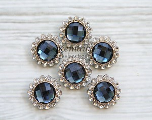 6 Pack Rhinestone Blue with Clear Surrounding Buttons 26mm