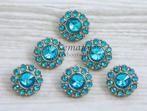 6 Pack Turquoise Acrylic Rhinestone Buttons 26mm