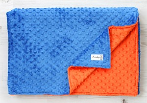 Blue and Orange Double Minky Baby Blanket