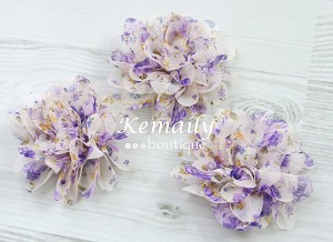 3 Pack Lavender Floral Peacock Shabby Chic Frayed Chiffon Flower