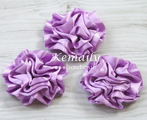 Set of 3 Lavender Rosette Satin Puff Flowers