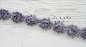 1-1/2in MINI Grey Shabby Chiffon Trim by the Yard