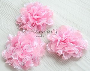 Pink and White Lace Shabby Chic Frayed Chiffon Flower