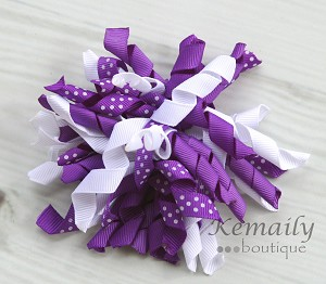 Purple Polka Dot Korker Hairbow
