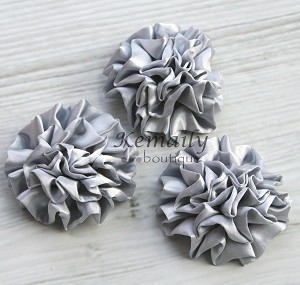 Silver Satin Puff Rolled Rosette Flowers