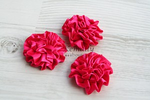 Set of 3 Hot Pink Satin Puff Rolled Rosette Flowers