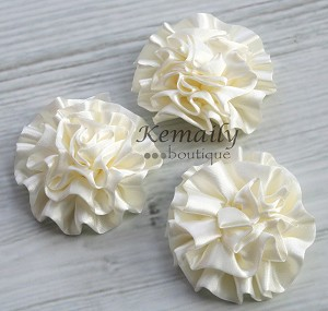 Set of 3 Ivory Satin Puff Rolled Rosette Flowers