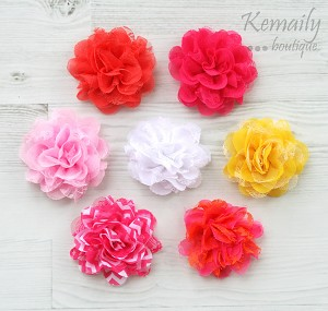 You Choose Shabby Chic Frayed Chiffon Flower