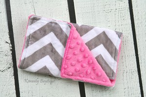 Grey Chevron on Hot Pink Double Minky Burp Cloth
