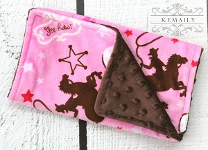Cowgirl Double Baby Minky Burp Cloth