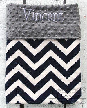 Personalized Navy Chevron on Grey Double Minky Baby Blanket