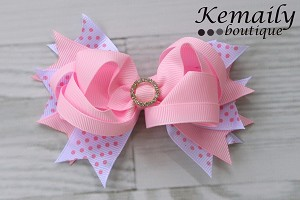 Pink and White Dot Slider Rhinestone HairBow Clips onto Headband