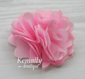 Pink Satin and Tulle Mesh Flower
