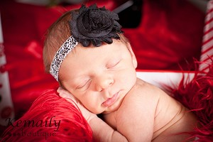 Black Damask Baby Headband