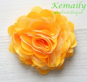Yellow Satin and Tulle Mesh Flower