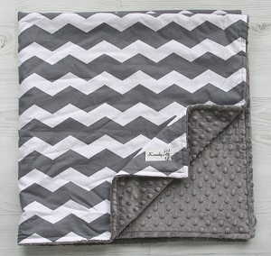 Grey Chevron Minky Baby Blanket