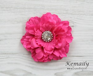 Large Fuschia Rhinestone Flower Hair Clip