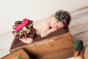 Camo Flower Baby Headband and Camo Ruffle Bloomers Set