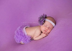 Purple Lavender Floral Flower Baby Headband and Bloomers