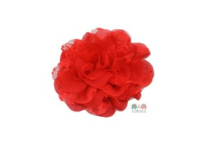 Red Shabby Chic Frayed Chiffon Flower (COPY)