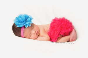 Turquoise Flower Baby Headband and Hot Pink Ruffle Bloomers Set