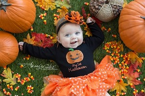 Halloween Orange and Black Baby Headband