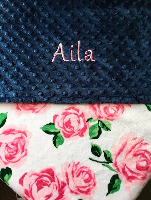 Personalized Vintage Rose Double Minky Baby Blanket