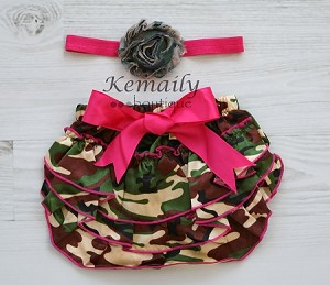 Camo Flower Satin Baby Headband and Camo Ruffle Bloomers Set