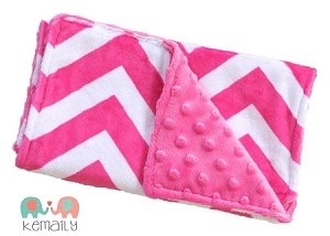 Hot Pink Chevron Double Baby Minky Burp Cloth